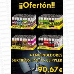 PROMO 4 ENCENDEDORES SURTIDOS 176+16 UD CLIPPER